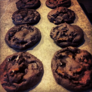 Double Chocolate Chip Pretzel Cookies